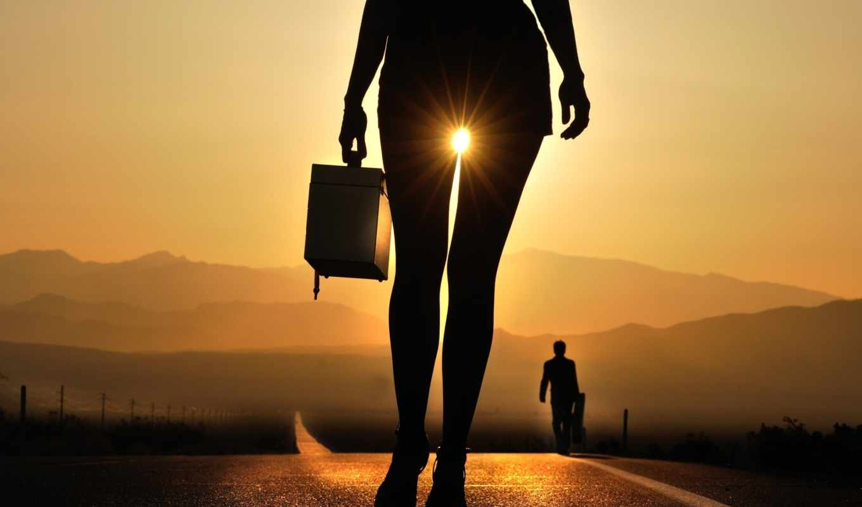 девушка, ноги, дорога, смерти, долина, трассе, ног, между, sun,