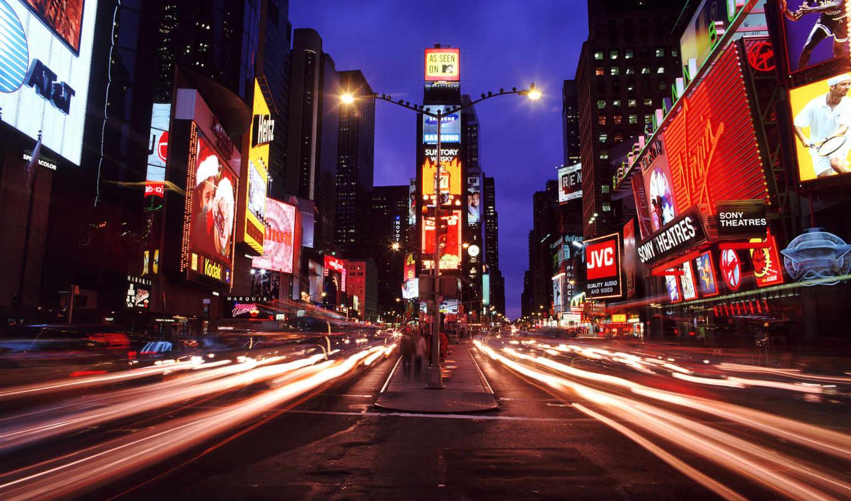 ночь, город, нью, york,