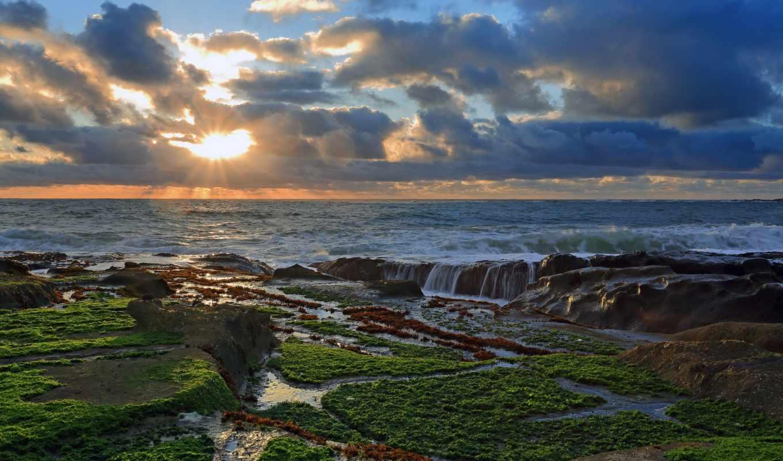 пейзажи -, морские, seascapes, природа, landscapes, закат, trees, clouds, картинка,