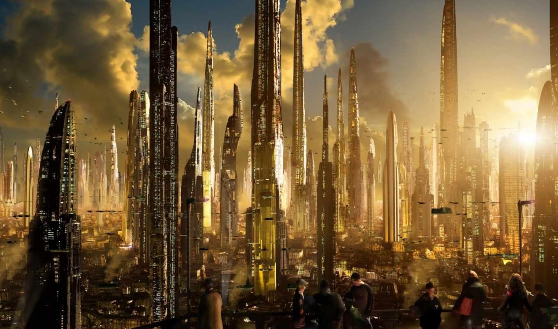 фантастика, научная, пейзаж, будущее, город, футур