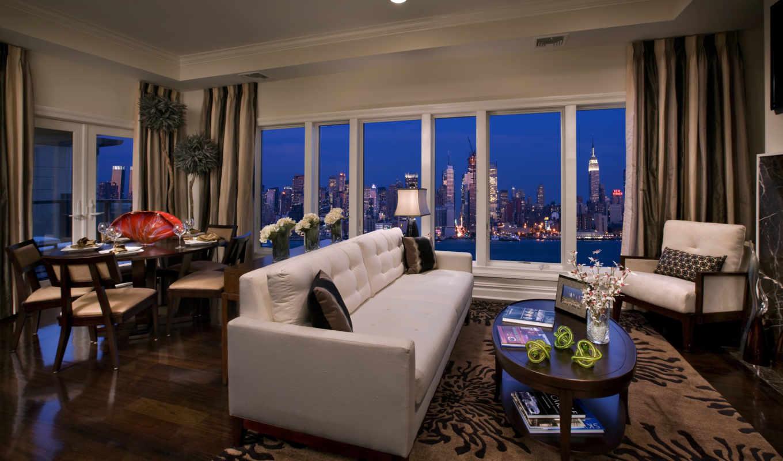 интерьер, люкс, комната, квартира, пентхаус, диван, ночь, нью, окно, york, здания, new, картинку,