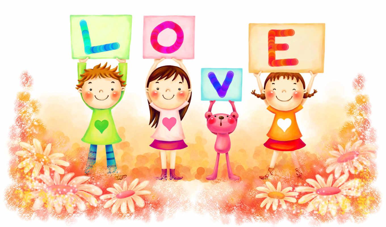 нарисованные, дети, мальчик, девочки, медвежонок, love, буквы, поляна, цветы