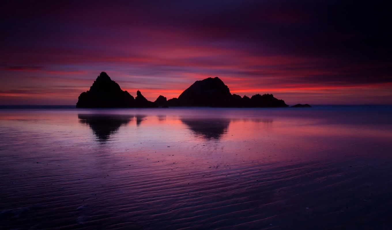 берег, сумерки, калифорния, вечер, кб, июня, сша, небо, скалы, ocean,