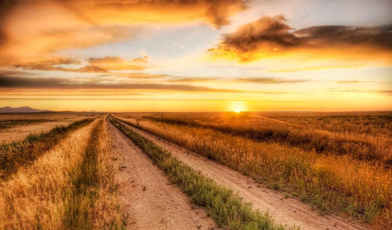 небо, sun, поле, солнца, облака, вечер, горизонт,