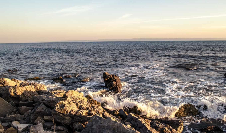 волны, природа, море, скалы,