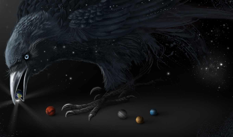 ,ворон,планета, черный,