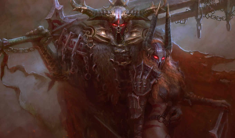 шлем, цепи, рога, меч, воин, доспехи, горящие, воительница, глаза, картинка, картинку,