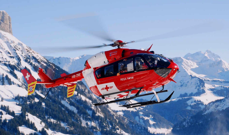 горы, красный, вертолет,