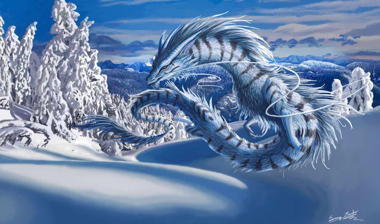 дракон, зима, пейзаж, снег, картинка, картинку,