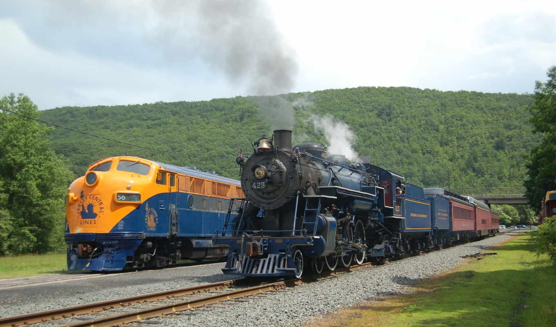 паровоз, рельсы, поезд, машины, автомобили, авто, картинка,