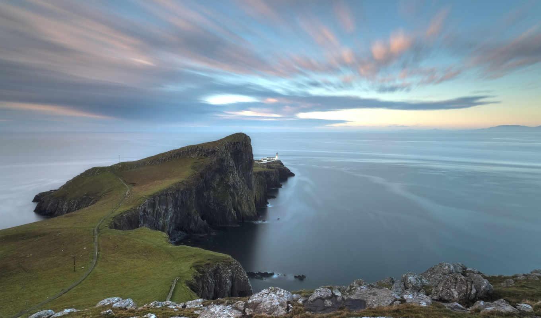 море, краю, небо, маяк, шотландия, скалы, океан,