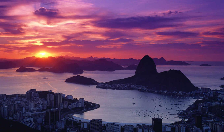rio, janeiro, закат, со, brazil,