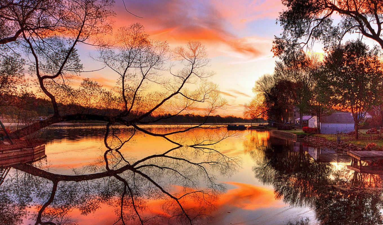 ,озеро, закат, деревья, пейзаж, берег, искусство, вечер,