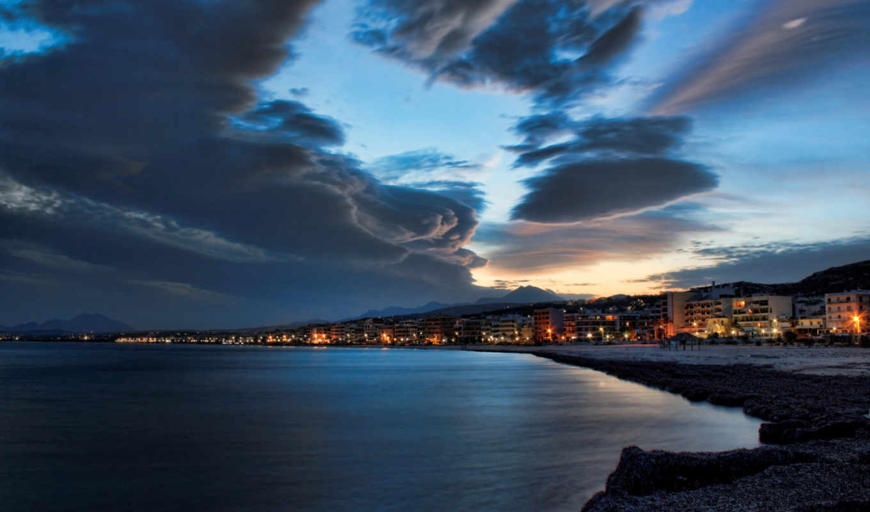 море, ночь, город, пляж, небо, огни,