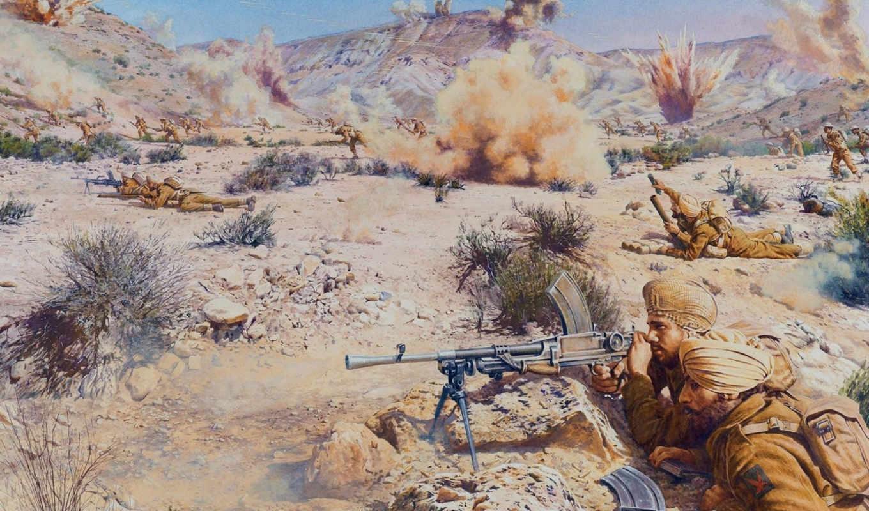 война, арт, африка, песок, камни, бой, марет, линия, год,