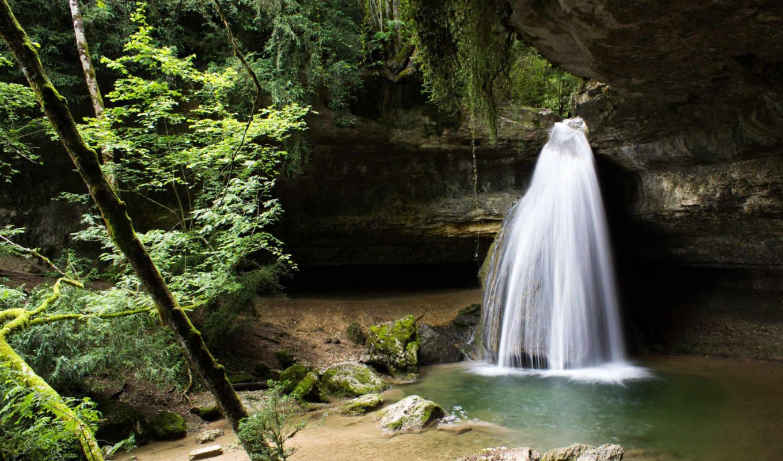 деревья, водопад, природа, растительность,