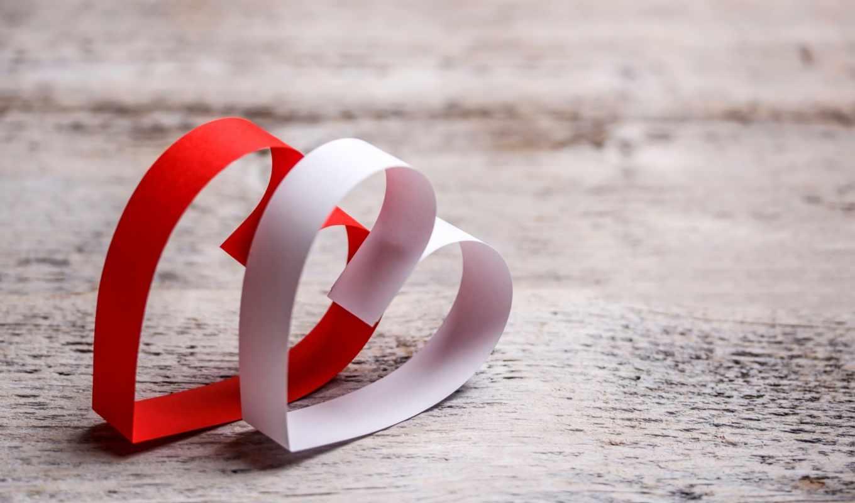 сердце, бумага, красный, белый, древесина