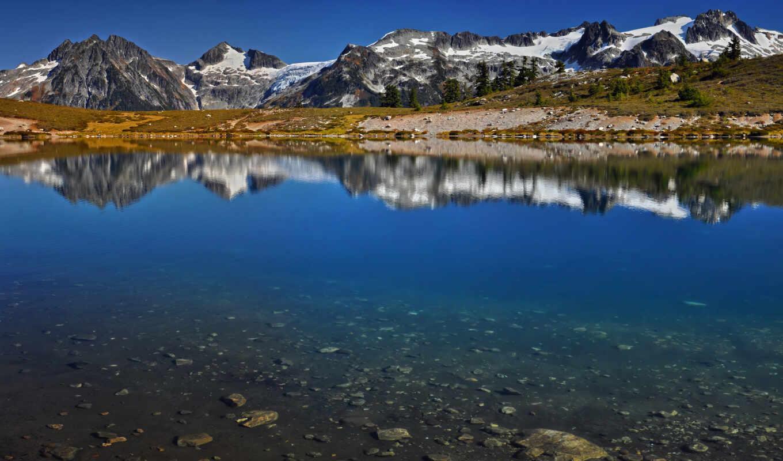 гора, взгляд, лес, landscape, subpolar, national, зелёный, yosemite, red, каньон, fore