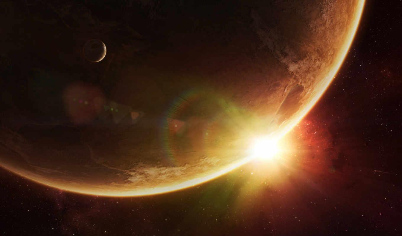 space, солнце, звезды, планеты, sunrise, under, смотрите, art,