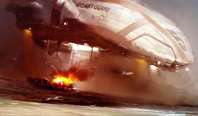пожар, вертолет, береговая, охрана, море, корабль, art, изображение, фэнтези,