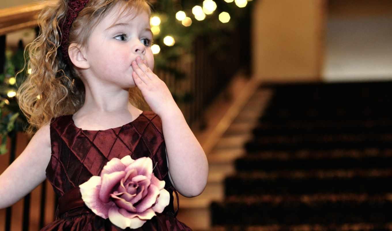 девочка, кудри, воздушный, лестница, поцелуй, роза,