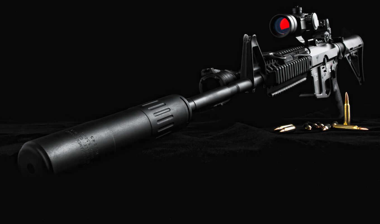 guns, rifle, m16, scope, глушитель, тактический фонарь