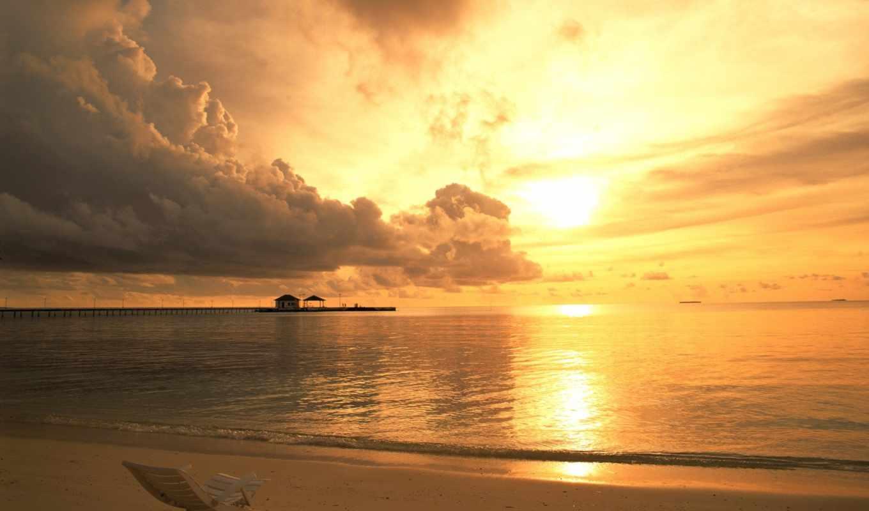 облака, море, пляж, закате, закат, лежак, нечто, рай, где,