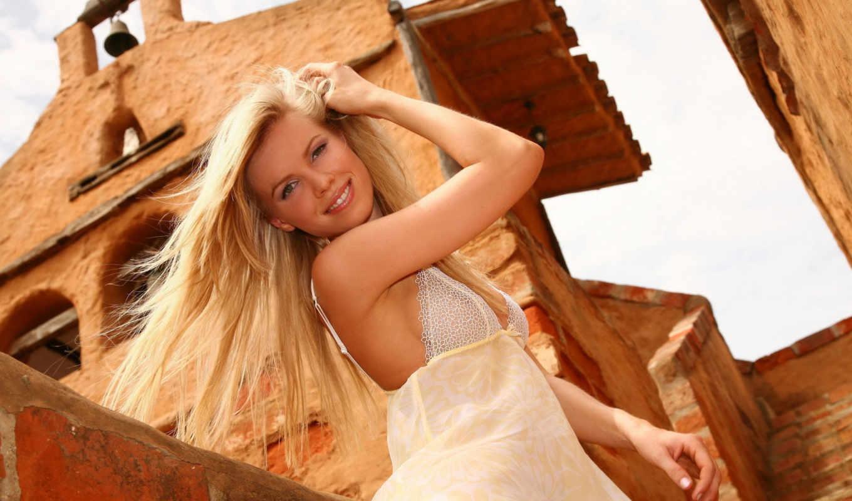 blonde, платье, белом, девушка, красивая, devushki, модели, волосы,