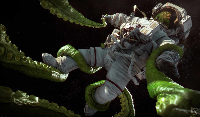 космонавт, cosmos, art, скафандр, гитара, корабль,