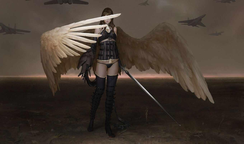 девушка, corset, крыло, меч, angel, ботинок, арта, ангела, ботфорты, anime