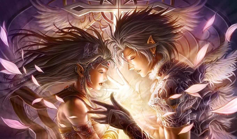 эльф, парень, девушка, арт, крылья, перья, магия, украшения, руки, крест, профиль, картинку, chrisnfy,