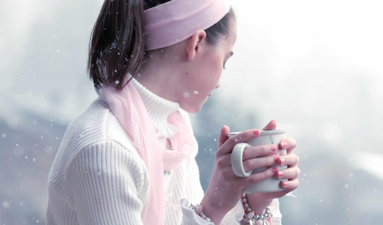 girl, woman, snow, winter, drinking,