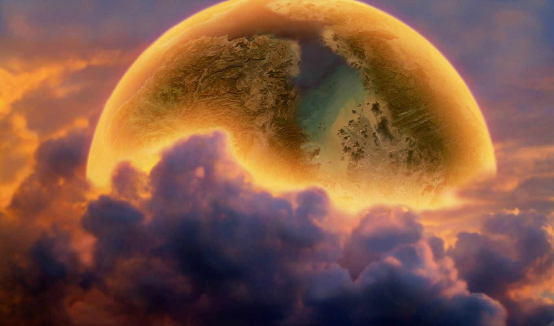 planet, фэнтези, космос, природа, облака, за, планеты, облаками, water,