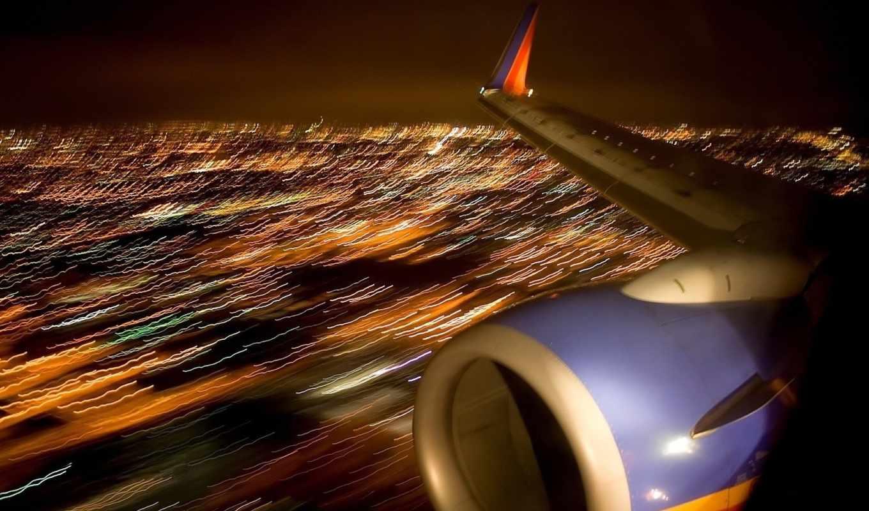 крыло, самолета, турбина, города, ночь, самолёт, огни, самолете, взгляд,