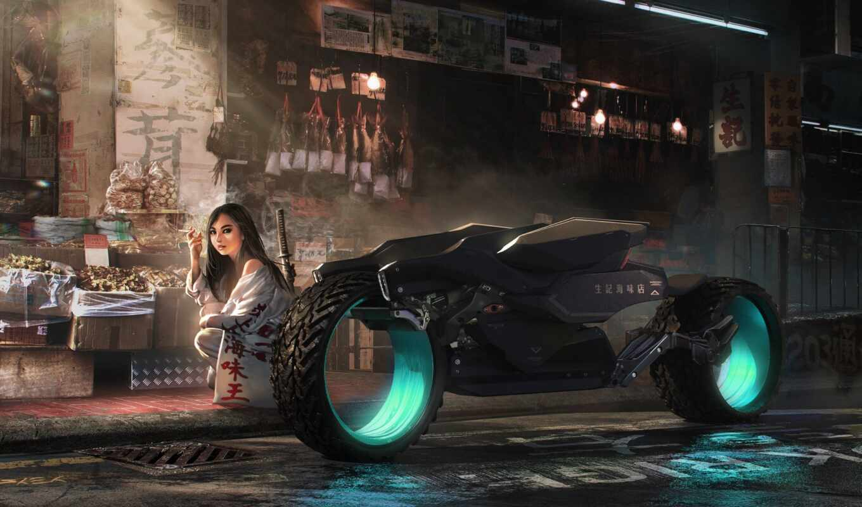 bike, девушка, store, cyber, fantasy, artwork, фон, artist