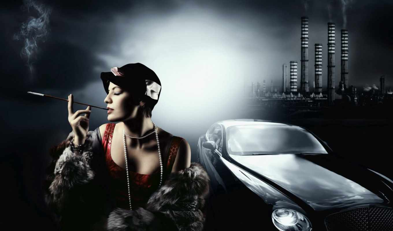 машина, обои, черная, сигарета, длинная, вамп, жен