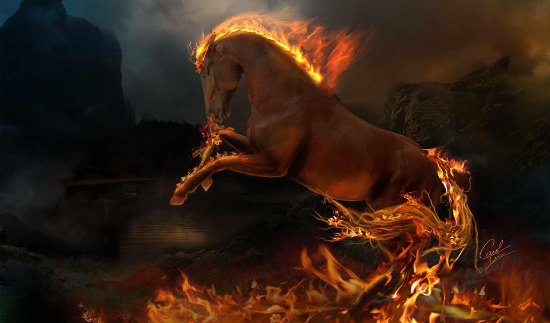конь, horse, лошадь, огонь, животные, fire, wallpaper, пламя, hd, wallpapers, digital, огненный,