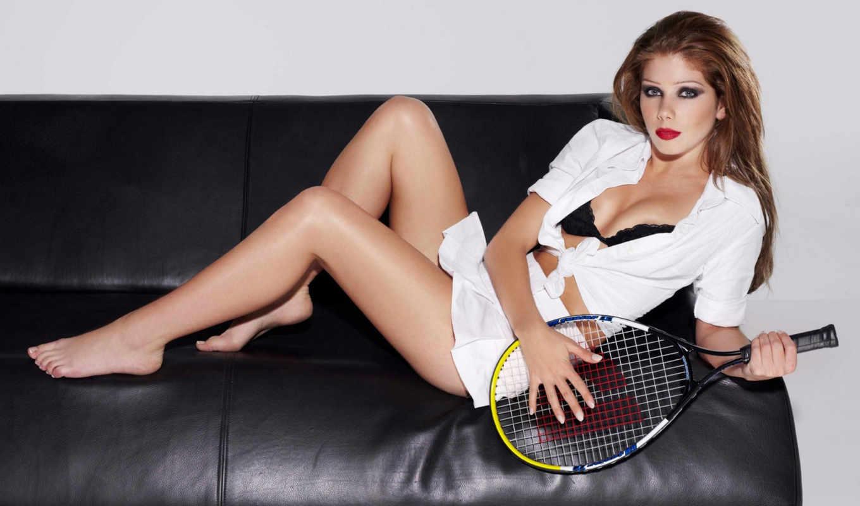 спорт, девушки, девушка, диване, лежит, теннисной, ракеткой,