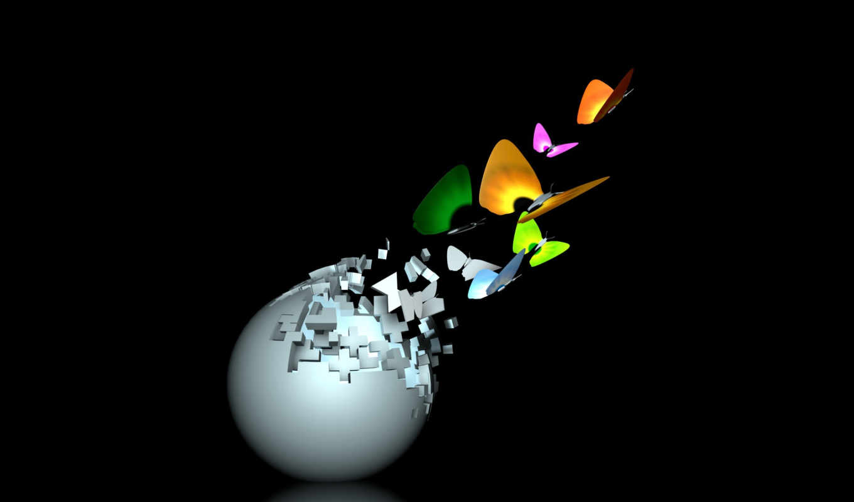 бабочки, графика, шара, разноцветные, красивые, минимализм,