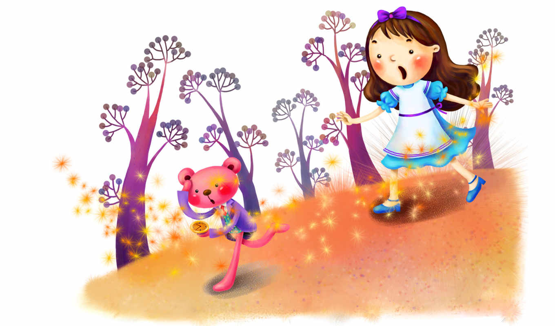 нарисованные, девочка, медвежонок, лес, часы, звёздочки