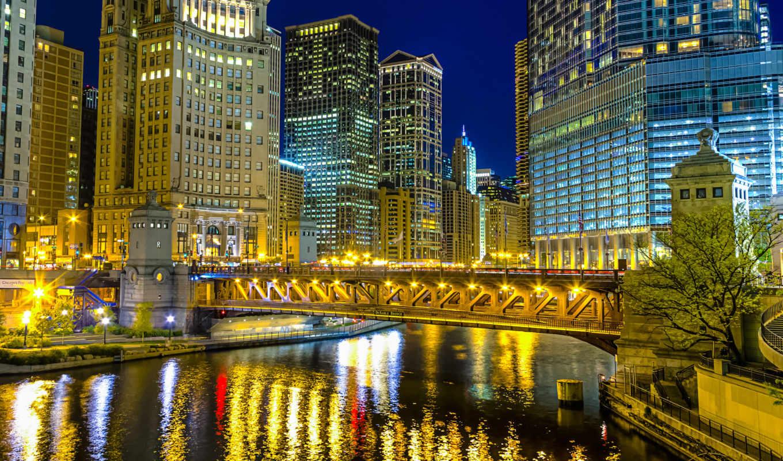 ночь, город, usa, города, chicago, широкоформатные, мост, ночные, благополучие,