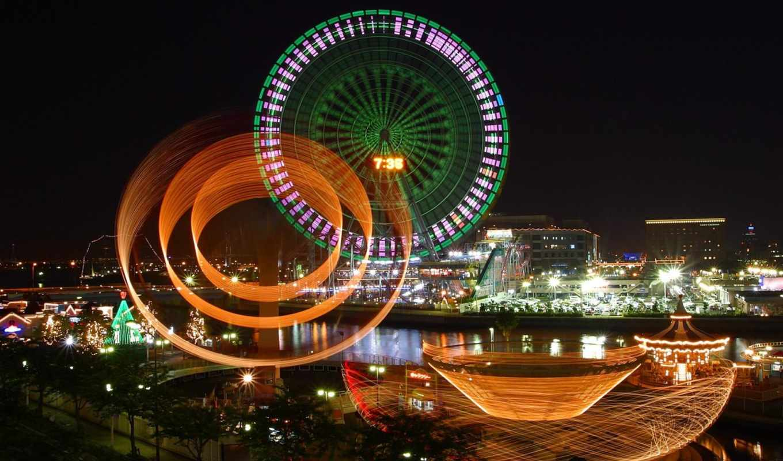 ночь, красивые, колесо, город, красивая, ночные,