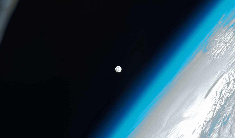 космос, луна, outer, международный, станция, свет, современный,