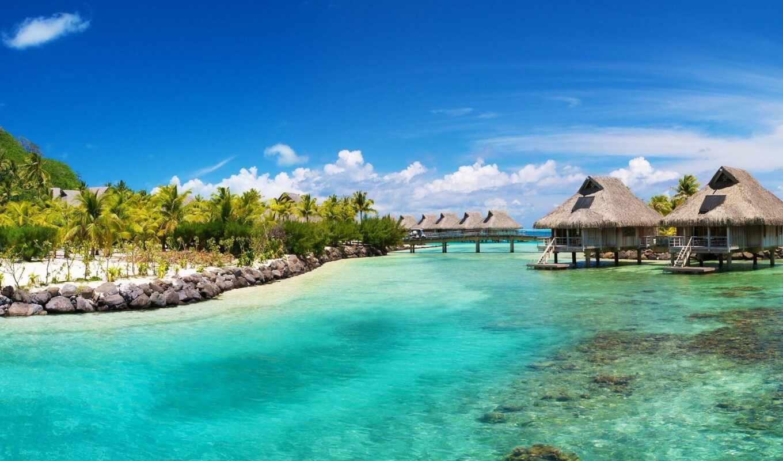 пляж, красивый, see, море, tahiti
