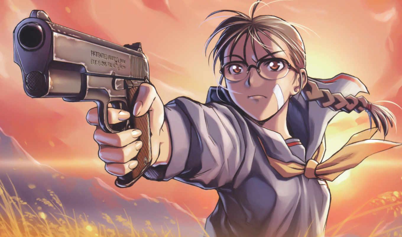 anime, девушка с пистолетом, schutzbrille, gun,