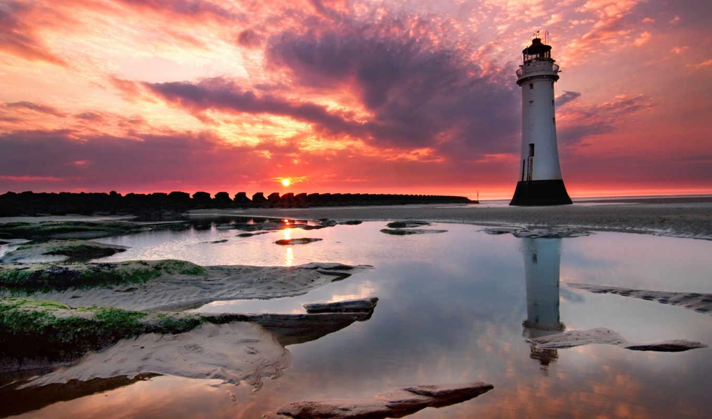 берег, закат, маяк, картинку, смотрите, пейзажи,