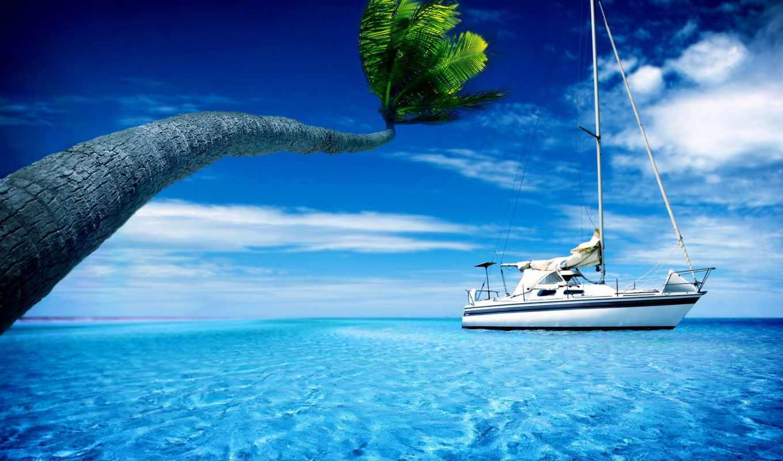 море, яхта, взгляд, природа, небо,