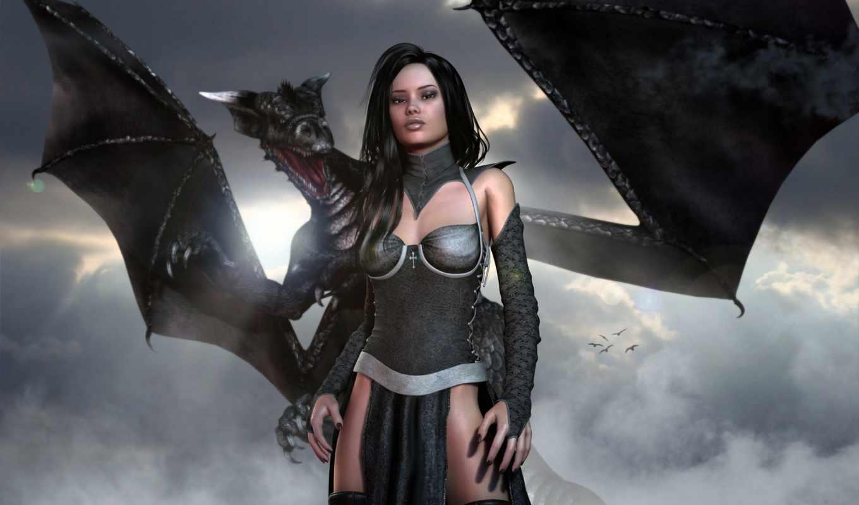 девушка, дракон, arne, art, dragonlord,
