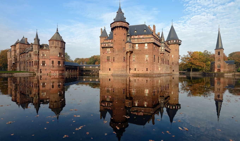 замок, замки, свой, старинный, коллекция, воде, отражение,