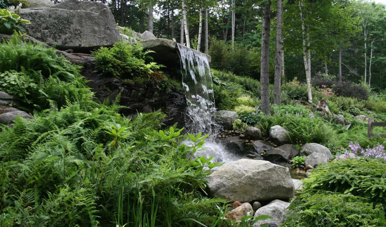 картинка, природа, water, hillside, леса, waterfalls, usa, скалы, garden, house,